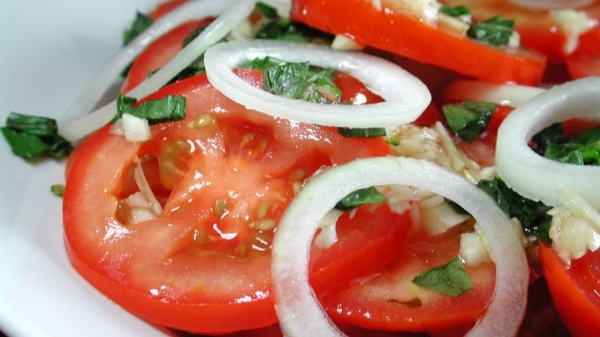 Tomato, Onion, Chilies Salad