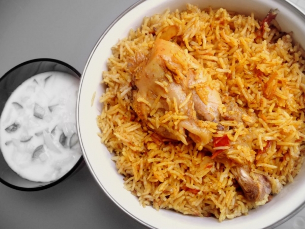 Chicken Biryani (small Portion) Served With Raita