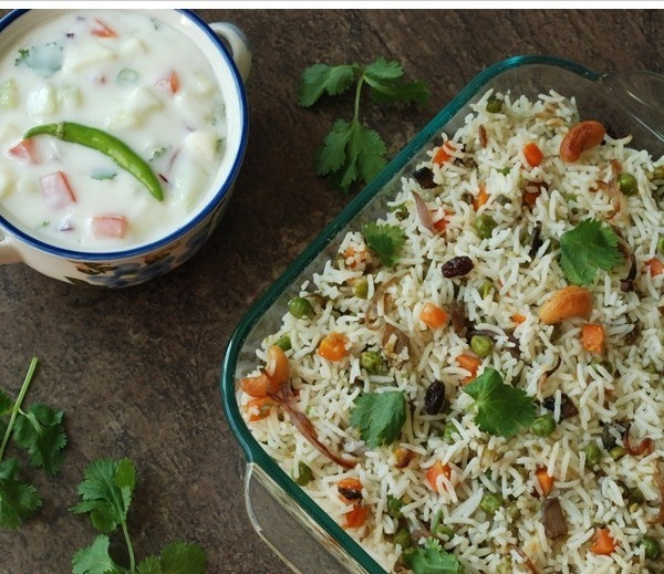 Vegetable Biryani (small Portion) Served With Raita